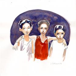 Trois fillettes dans la Casbah